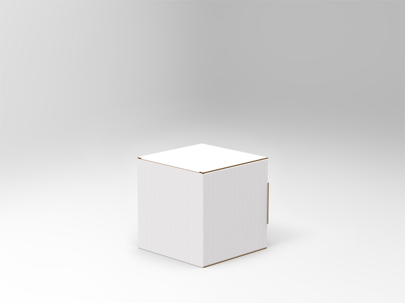 Cartello vetrina a cubo - M <br> 25 X 25 cm <br> in Microonda 1,8 mm