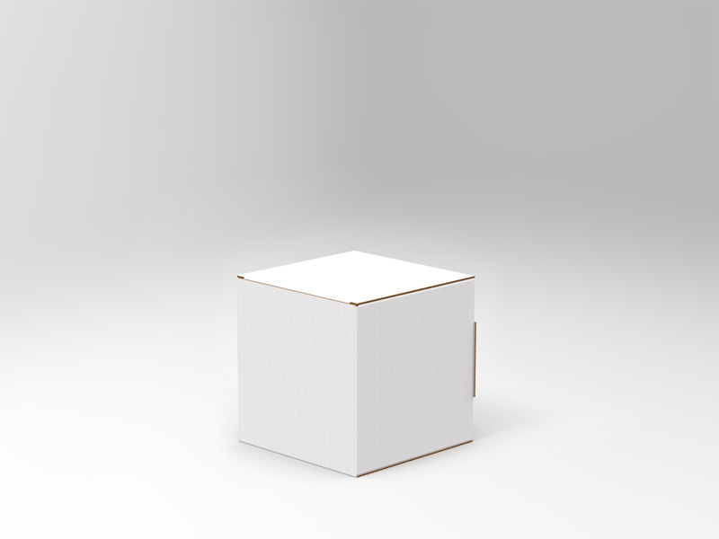 Cartello vetrina a cubo - S <br> 15 X 15 cm <br> in Microonda 1,8 mm